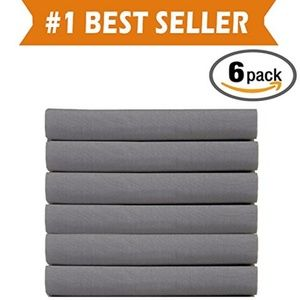6 PK Luxury Fitted Twin Sheets Grey
